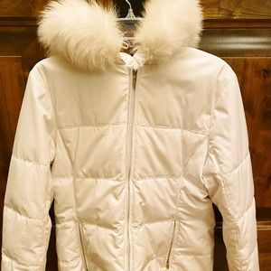 Anne Klein puffer jacket with removable fox collar